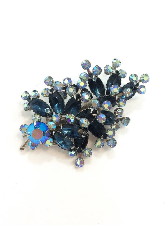 Blue Rhinestone Crystal Judy Lee Brooch, Floral Spray Pin, Sapphire Marquise Aurora Borealis Chatons, Vintage Statement Jewelry