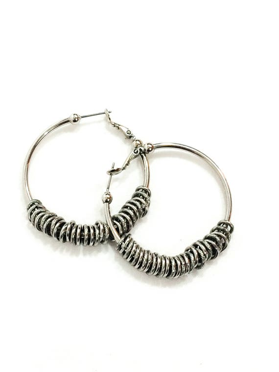 Silver Hoop Earrings with Charms, Rhodium Plated Silver, Pierced Lever Backs, Boho Gypsy Hippie Chic, 1990s Vintage Fashion Jewelry