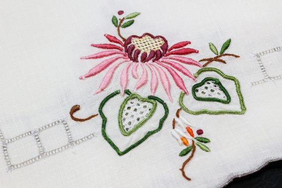 Rare Madeira Table Linens, Set Embroidered Place Mats Napkins, Padded Satin Stitching, Pink Blue White Flowers, 1950s, Vintage Linens
