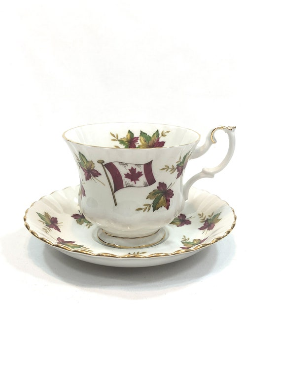 Royal Albert Canada Tea Cup Saucer, Sea To Sea Mark, Canadian Flag Maple Leaves, Green Brown Red, Footed English Teacup, Vintage Bone China