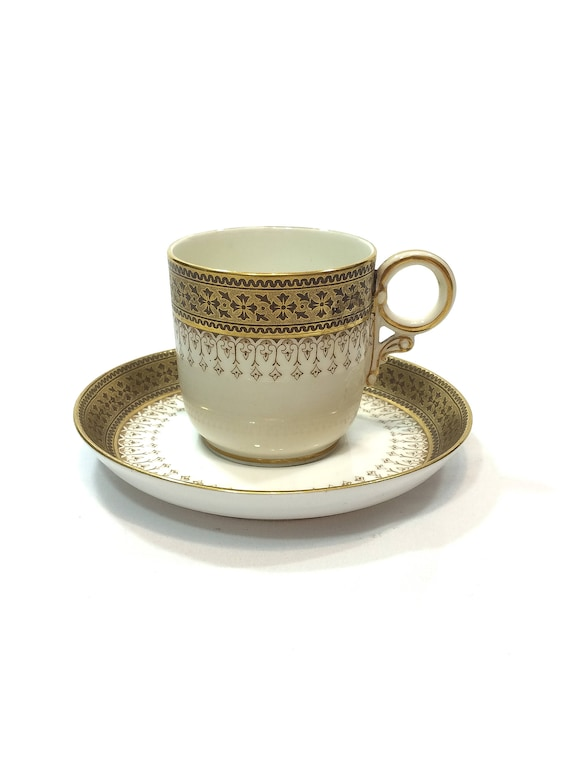 Antique Royal Worcester Demitasse Cup Saucer, Ring Handle, Gold & Brown, Fleur de Lis Floral Foliate, Motif, 1900s English Bone China