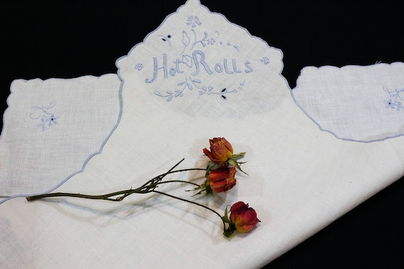 Madeira Hot Rolls Bread Warmer, Ivory Irish Linen, Blue Raised Hand Embroidered Flowers & Words, Shabby Cottage Chic, 1950s Vintage Linens