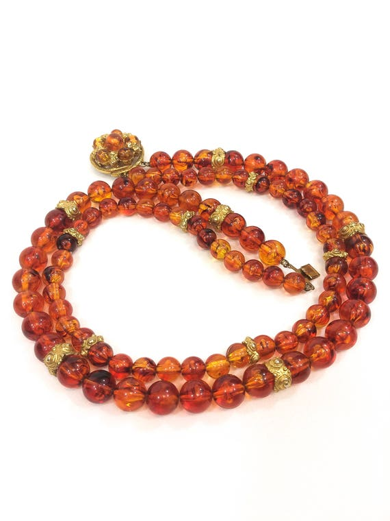 Double Strand Amber Necklace, Translucent Lucite Beads & Gold Repousse Rondelles, Decorative Clasp Fall Colors, Vintage Fashion Jewelry