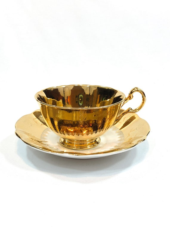 Royal Winton Grimwades Gold Mismatched Tea Cup, Queen Anne Saucer, Embossed Leaves Medallion, All Gold Vintage Bone China English Teacup,