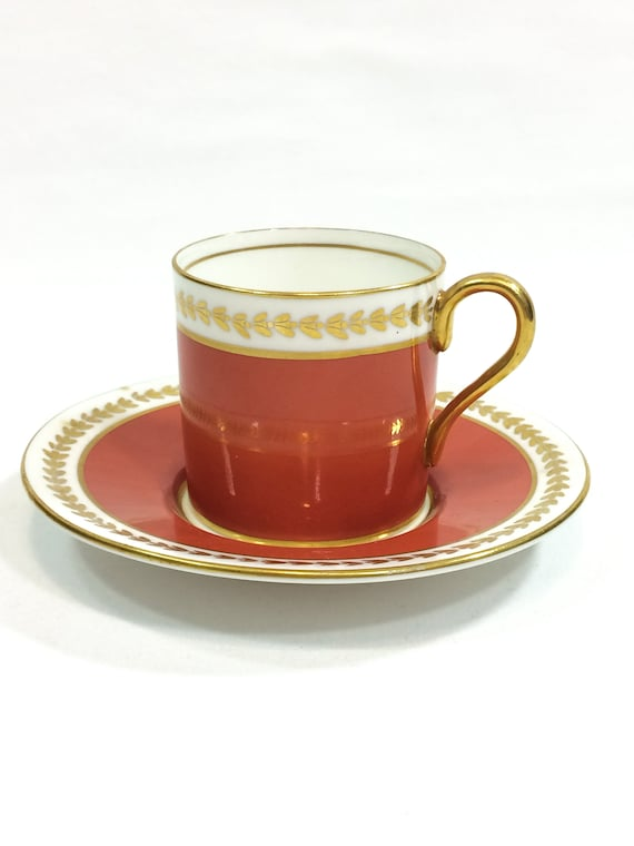 Aynsley Demitasse Cup & Saucer, Deep Salmon Coral Red, Gilded Rims Handle Leaf Motif, Glazed Finish, 1950s Vintage English Bone China Teacup