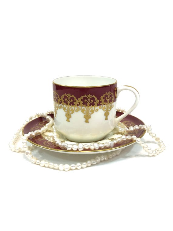 Aynsley Tea Coffee Cup and Saucer, Maroon Red & Gold Neoclassical Swag Gilding, Formal English Bone China, 1950s Vintage Can Teacup