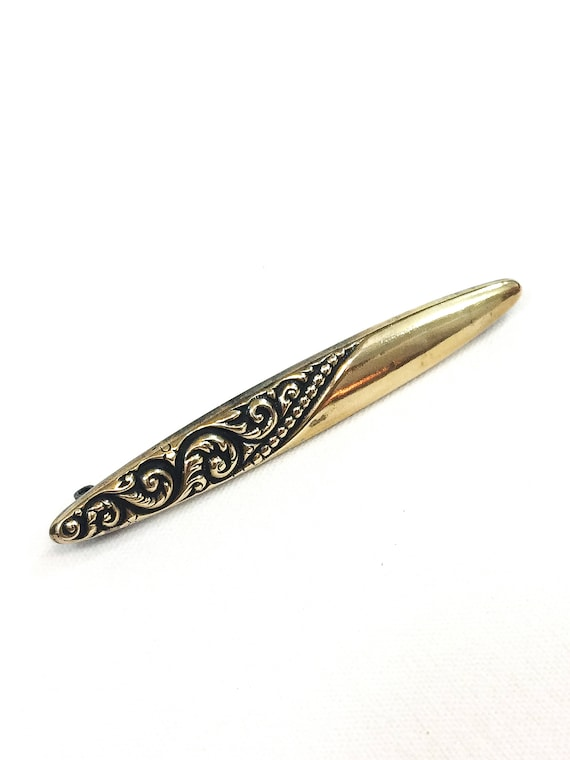 Gold Filled Art Nouveau Bar Pin, Engraved Leaves Foliate Design, Fern Fiddle Heads, Tapered Ends C Clasp, 1910s  Antique Edwardian Jewelry