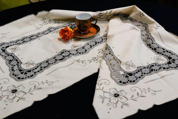 Ecru Embroidered Table Runner Dresser Scarf, Taupe Floral Flowers Foliate, Crochet Inserts & Drawn Work, Linen Blend, Vintage Estate Linens