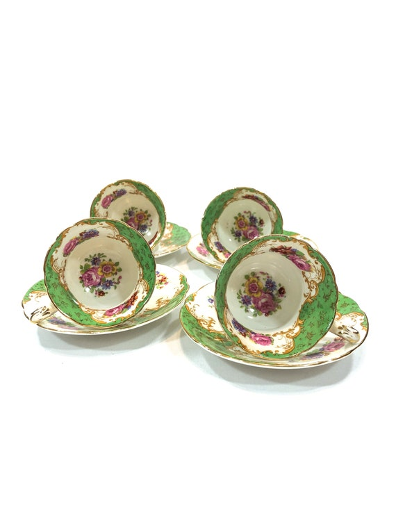 Paragon Demitasse Cups Saucers, Set of Four 4, Spring Green Pink Roses Yellow, Bone China English Demitasse Cups, Shabby Chic 1940s Vintage