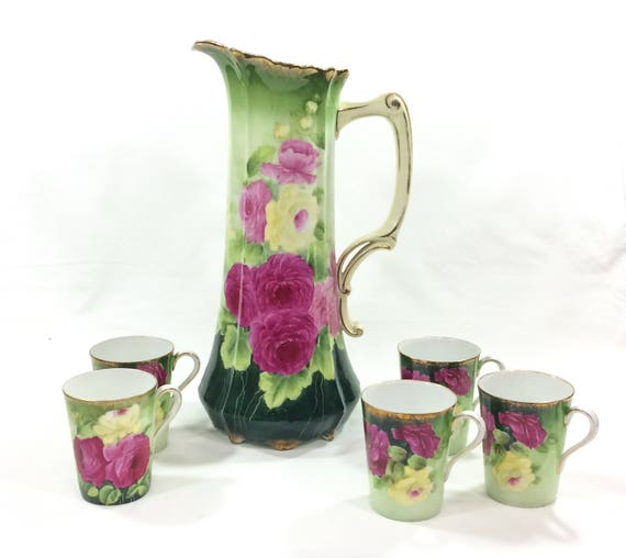 Large Hand Painted Water Lemonade Pitcher 5 Cups, Deep Pink Cream Roses Hollyhocks, Signed, 1900-1909 Antique P T Bavaria China