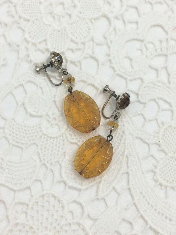 Art Deco Dangle Earrings, Topaz Butterscotch Stamped Glass, Geometric Design, Silvertone Screw Backs, 1930s 1950s Vintage Jewelry