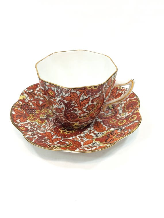 English Rosina Paisley Tea Cup & Saucer, Bold Yellow Orange Red Floral Chintz, Shabby Chic Cottage Decor, 1950s Vintage Bone China Teacup