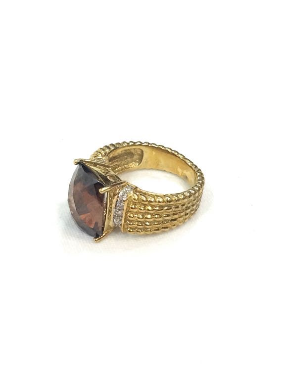 Smoky Quartz Ring, Gold over Sterling Silver, CZ Accents, Checkerboard Cut Rectangular Stone, Beaded Shank, Size 5, Vintage Gemstone Jewelry