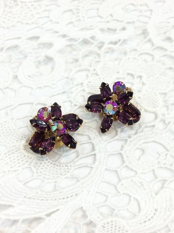Purple Flower Earrings, Crystals & Aurora Borealis Rhinestones, Goldtone Setting, Beau Jewels, 1950s Vintage Wedding Fashion Jewelry
