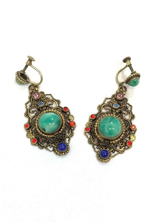 Czech Glass Dangle Earrings, Austro Hungarian Art Deco, Gilded Filigree, Lapis Green Peking Glass, Red Pink Rhinestones, Vintage Jewelry