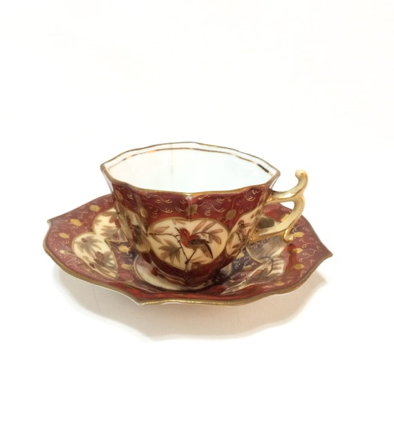 Antique Japonisme Demitasse, Hand Painted Demitasse, Deep Red, Birds & Bamboo, 1800s, Dresden Style, Porcelain Tea Cup
