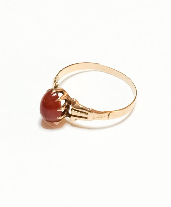 Antique14K Rose Gold Gemstone Ring, Oval Carnelian, Engraved Claw Setting, August Birthstone, Size 6, Late 1800s Victorian Jewelry