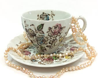 Johnson Brothers Staffordshire Bouquet Tea Cup & Saucer, English Ironstone China, Ribbed Shape, Pink Blue Yellow Brown, 1970s Vintage