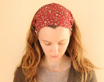 Red Floral Cotton Headcovering
