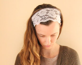 Pure White Lace Headcovering