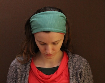 Reversible Teal and Red Stretchy Headcovering
