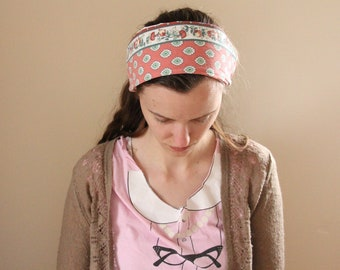 Pink and Green Floral Cotton Headcovering