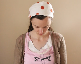 Orange and White Polka Dot Cotton Headcovering