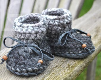 Grayson Nonslip Mocs by MLE Originals, Ready to Ship Handmade Baby Slippers, Grey Baby Moccasins, Crochet Leather Booties, Gender Neutral