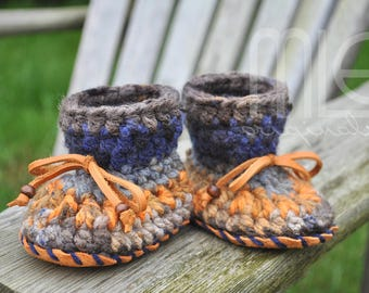 Harvest Moon Nonslip Mocs by MLE Originals, Blue and Orange Baby Slippers, Crochet Baby Booties with Nonslip Leather Sole, Crochet Moccasin