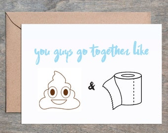 poop and toilet paper funny wedding card wedding card congratulations wedding card bridal shower card bridal card engagement card