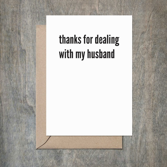 Thanks For Dealing With My Husband Funny Fathers In Law Day Card Father Birthday