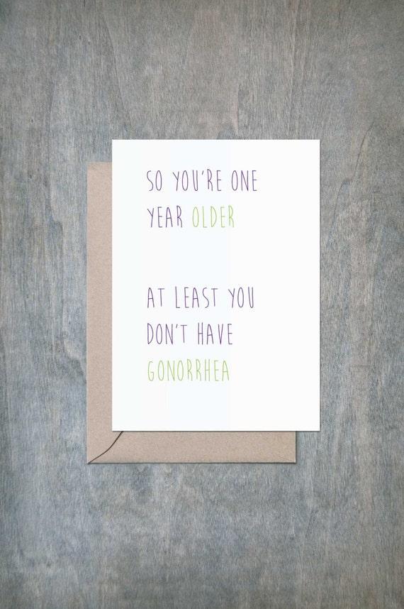 No Gonorrhea Funny Birthday Card Funny Birthday Card Friend Etsy