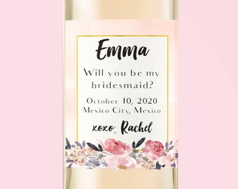 Be my Bridesmaid. Asking Bridesmaid. Wine Label. Custom Wine Labels. Bridesmaid Gift. Matron of Honor.