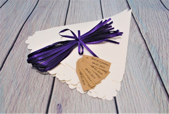 20 biodegradable confetti cones personalised tags /& ribbon natural rose wedding
