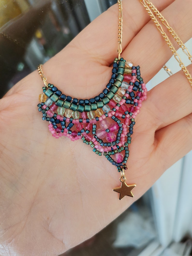 Women necklace with Miyuki Pendant and Czech Crystal Oriental style necklace with fine golden chain customizable made with beads