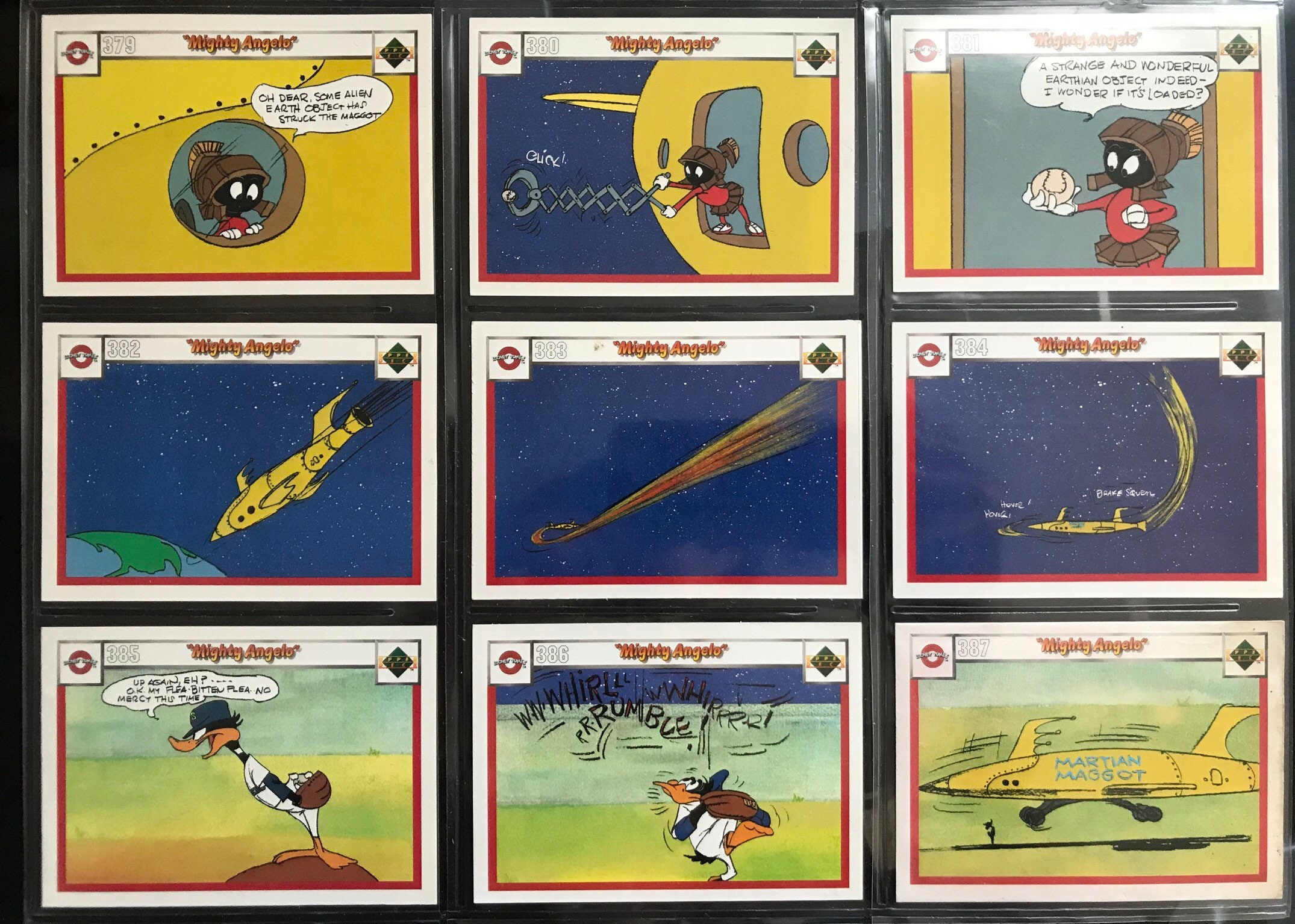 Vintage The Upper Deck Company Warner Brothers Looney Tunes Mighthy Angelo Story Baseball Cards