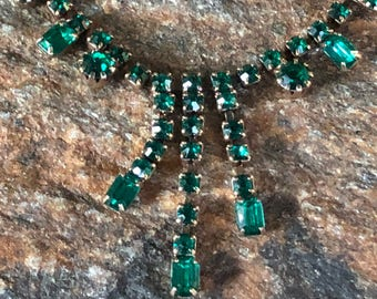 Green Rhinestone Necklace Prom Necklace