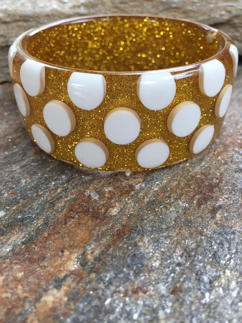Polka Dot Bangle Chunky Glitter Bracelet Large Polka Dot Bracelet Chunky Summer Bracelet Gold Glitter Bangle