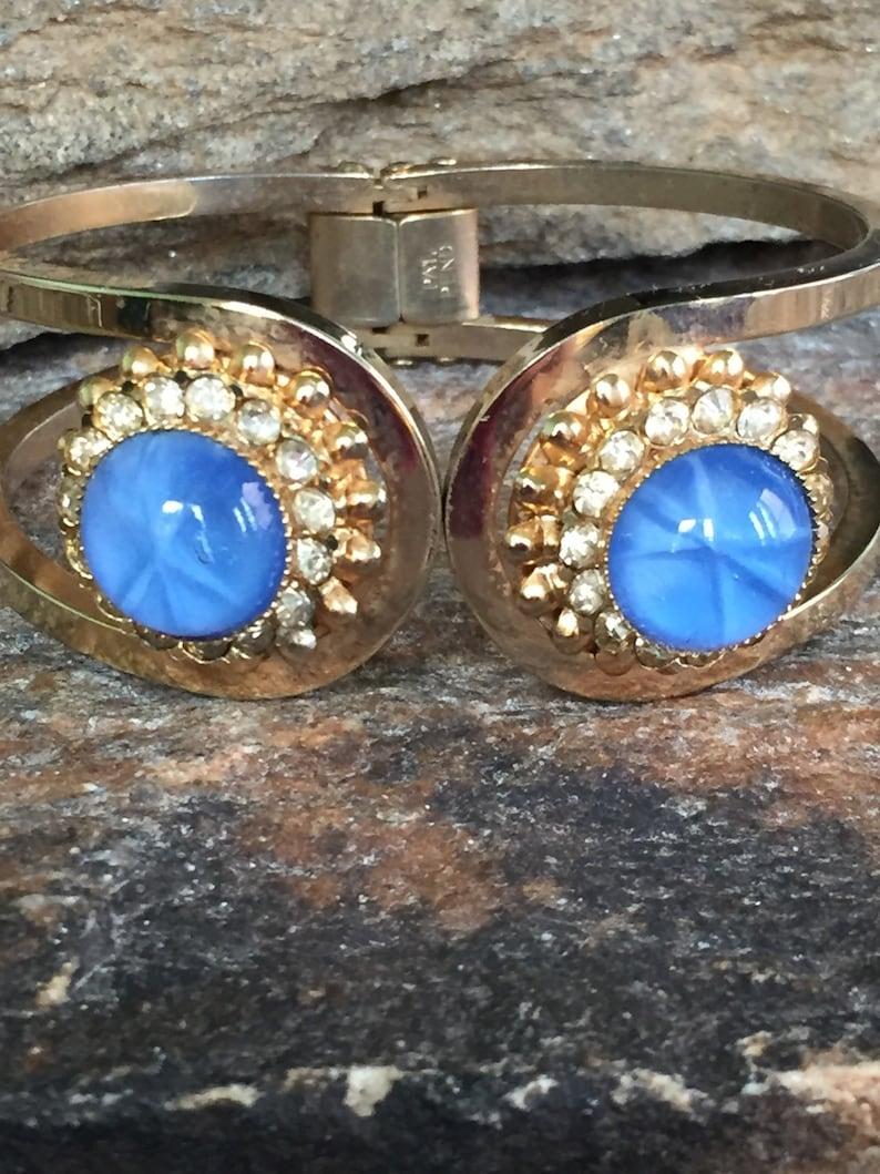 Blue Moonglow Bracelet Hinge Bracelet Chunky Blue Bracelet Blue Cuff Bracelet Bangle Bracelet Blue Jewelry Gift Idea