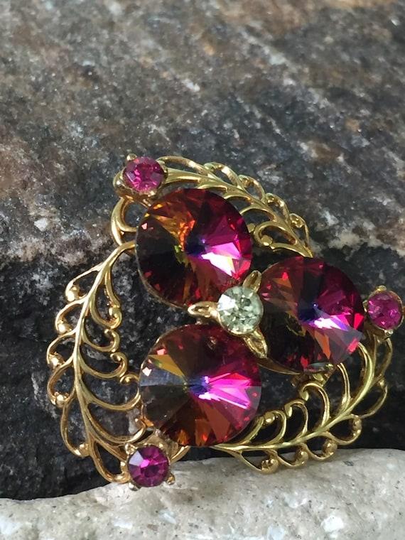 Rivoli Rhinestone Brooch Rivoli Jewelry Rainbow Brooch Rivoli  bf4fff078a5d