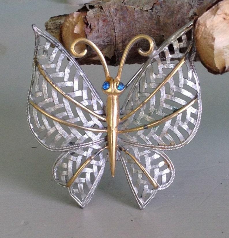 Avon Butterfly Brooch Two Tone Butterfly Brooch Rhinestone Butterfly Pin