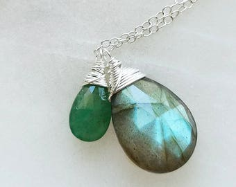 Emerald Necklace, Sterling Silver Emerald Necklace, Silver Labradorite Necklace, Genuine Emerald Gemstone, Labradorite Necklace