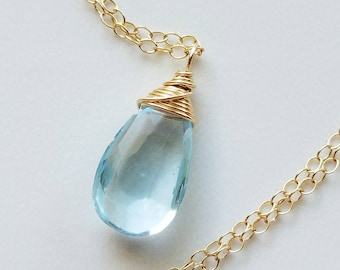 Topaz Necklace, Sky Blue Topaz Pendant, 14k Gold Filled Necklace, Gold Topaz Necklace, Blue Topaz Pendant, 14k Gold Topaz Necklace