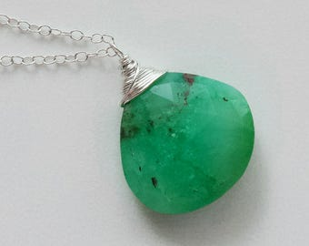 Chrysoprase Necklace, Sterling Silver Chrysoprase Pendant, Chrysoprase Jewelry, Sterling Silver Necklace, Raw Chrysoprase Gemstone