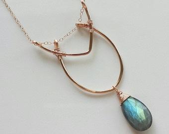 Labradorite Necklace, 14k Rose Gold Necklace, Rose Gold Labradorite Necklace, Labradorite Pendant, 14k Rose Gold Jewelry. Unique Necklace