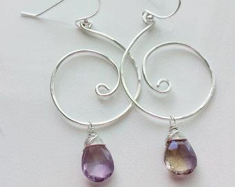 Ametrine Earrings, Sterling Silver Swirl Earrings, Silver Ametrine Earrings, Ametrine Jewelry, Gemstone Earrings, Swirl Earrings