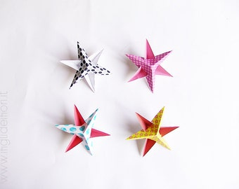 Christmas stars decorations, paper stars for Christmas tree, Christmas ornaments DIY, digital file instant download