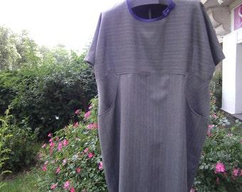 grey striped Dress  Wool Dress  Plus size clothing  handmade Dress - Dress XXL - Dress big Sizes