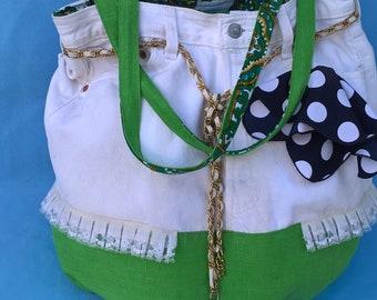 Jeans shoulder bag , green white Women's jeans bag