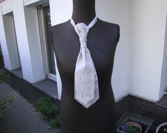 grey Tie  grey Plastron ,  Tie for Men , Gift for him,  Tie for Wedding - Tie with Roses - uni Tie